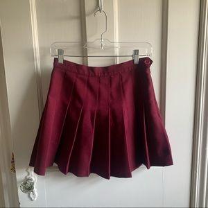 Pleated Wine American Apparel Tennis Skirt